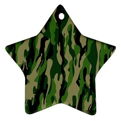 Green Military Vector Pattern Texture Star Ornament (two Sides) by BangZart