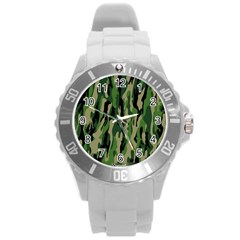 Green Military Vector Pattern Texture Round Plastic Sport Watch (l) by BangZart
