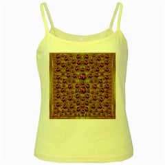 Angels In Gold And Flowers Of Paradise Rocks Yellow Spaghetti Tank by pepitasart