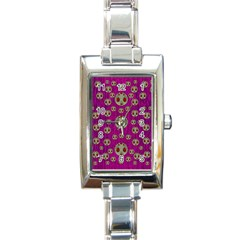 Ladybug In The Forest Of Fantasy Rectangle Italian Charm Watch by pepitasart