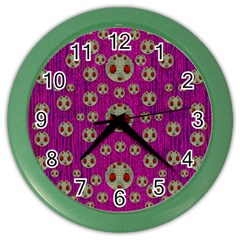 Ladybug In The Forest Of Fantasy Color Wall Clocks by pepitasart