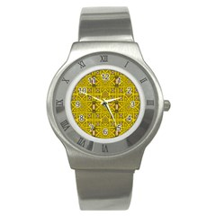 Stars And Flowers In The Forest Of Paradise Love Popart Stainless Steel Watch by pepitasart