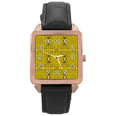 Stars And Flowers In The Forest Of Paradise Love Popart Rose Gold Leather Watch  by pepitasart