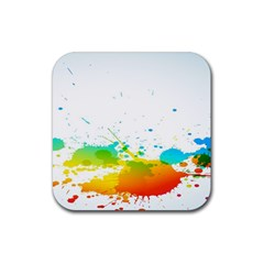 Colorful Abstract Rubber Square Coaster (4 Pack)