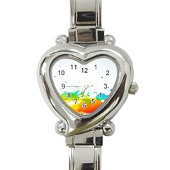 Colorful Abstract Heart Italian Charm Watch by BangZart