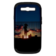 Art Sunset Anime Afternoon Samsung Galaxy S Iii Hardshell Case (pc+silicone) by BangZart