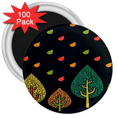 Vector Color Tree 3  Magnets (100 Pack) by BangZart
