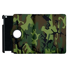 Military Camouflage Pattern Apple Ipad 2 Flip 360 Case by BangZart
