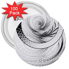 Enso, A Perfect Black And White Zen Fractal Circle 3  Buttons (100 Pack)  by jayaprime