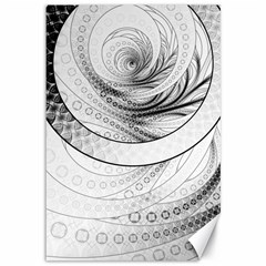 Enso, A Perfect Black And White Zen Fractal Circle Canvas 12  X 18   by jayaprime