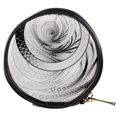 Enso, A Perfect Black And White Zen Fractal Circle Mini Makeup Bags by jayaprime