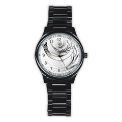 Enso, A Perfect Black And White Zen Fractal Circle Stainless Steel Round Watch by jayaprime