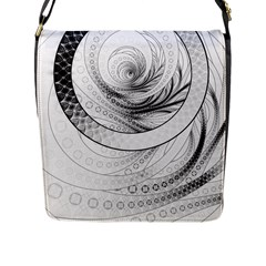 Enso, A Perfect Black And White Zen Fractal Circle Flap Messenger Bag (l)