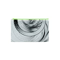 Enso, A Perfect Black And White Zen Fractal Circle Cosmetic Bag (xs) by jayaprime
