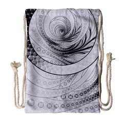 Enso, A Perfect Black And White Zen Fractal Circle Drawstring Bag (large) by jayaprime