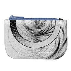 Enso, A Perfect Black And White Zen Fractal Circle Large Coin Purse by jayaprime