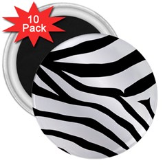 White Tiger Skin 3  Magnets (10 Pack)  by BangZart