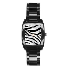 White Tiger Skin Stainless Steel Barrel Watch by BangZart