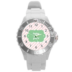 Today Will Be Great Round Plastic Sport Watch (l) by BangZart
