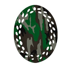 Army Green Camouflage Oval Filigree Ornament (two Sides) by BangZart