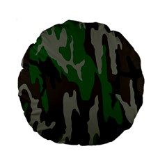 Army Green Camouflage Standard 15  Premium Round Cushions by BangZart