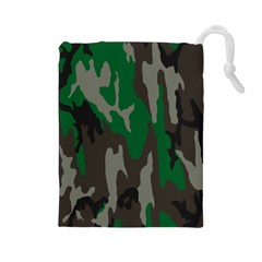 Army Green Camouflage Drawstring Pouches (large)