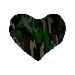 Army Green Camouflage Standard 16  Premium Flano Heart Shape Cushions by BangZart