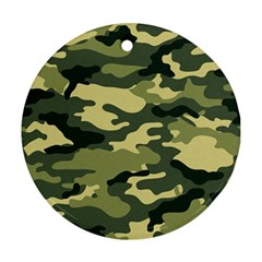 Camouflage Camo Pattern Round Ornament (two Sides) by BangZart