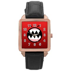 Funny Angry Rose Gold Leather Watch  by BangZart