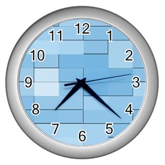 Blue Squares Iphone 5 Wallpaper Wall Clocks (silver)  by BangZart