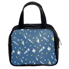Space Rockets Pattern Classic Handbags (2 Sides) by BangZart
