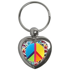 Peace Sign Animals Pattern Key Chains (heart)  by BangZart
