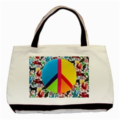 Peace Sign Animals Pattern Basic Tote Bag by BangZart