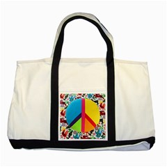 Peace Sign Animals Pattern Two Tone Tote Bag by BangZart