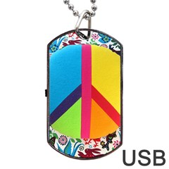 Peace Sign Animals Pattern Dog Tag Usb Flash (two Sides) by BangZart