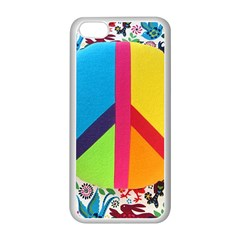 Peace Sign Animals Pattern Apple Iphone 5c Seamless Case (white)