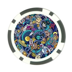 Cartoon Hand Drawn Doodles On The Subject Of Space Style Theme Seamless Pattern Vector Background Poker Chip Card Guard by BangZart