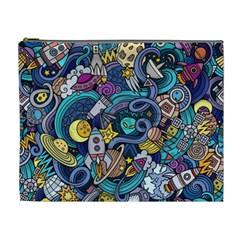 Cartoon Hand Drawn Doodles On The Subject Of Space Style Theme Seamless Pattern Vector Background Cosmetic Bag (xl) by BangZart