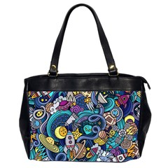 Cartoon Hand Drawn Doodles On The Subject Of Space Style Theme Seamless Pattern Vector Background Office Handbags (2 Sides)  by BangZart