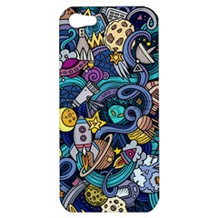 Cartoon Hand Drawn Doodles On The Subject Of Space Style Theme Seamless Pattern Vector Background Apple Iphone 5 Hardshell Case