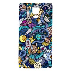 Cartoon Hand Drawn Doodles On The Subject Of Space Style Theme Seamless Pattern Vector Background Galaxy Note 4 Back Case by BangZart