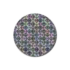 Peace Pattern Rubber Coaster (round)  by BangZart