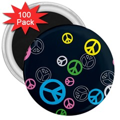 Peace & Love Pattern 3  Magnets (100 Pack) by BangZart
