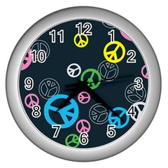 Peace & Love Pattern Wall Clocks (silver)  by BangZart