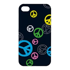 Peace & Love Pattern Apple Iphone 4/4s Premium Hardshell Case by BangZart