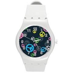 Peace & Love Pattern Round Plastic Sport Watch (m) by BangZart
