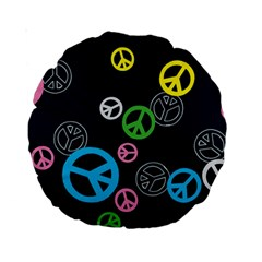 Peace & Love Pattern Standard 15  Premium Round Cushions by BangZart