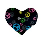 Peace & Love Pattern Standard 16  Premium Heart Shape Cushions Front