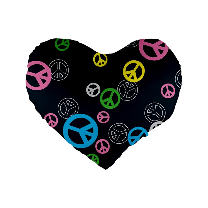 Peace & Love Pattern Standard 16  Premium Heart Shape Cushions