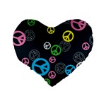 Peace & Love Pattern Standard 16  Premium Heart Shape Cushions Back